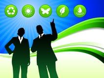 Couples d'affaires sur le fond abstrait de vague avec des boutons de nature Images libres de droits