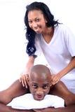 Couples d'Afro-américain à la station thermale Photographie stock libre de droits