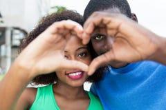 Couples d'Afro-américain dans l'amour Photo libre de droits