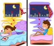 Couples d'amour causant dans la nuit de Valentine illustration libre de droits