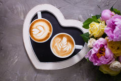 Couples d'amour de cappuccino Images libres de droits