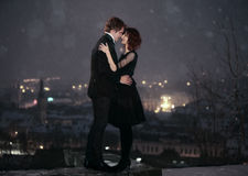 COUPLES d'AMOUR la nuit de Valentine Image libre de droits