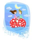 Couples d'amour sur le bateau en forme de coeur illustration stock