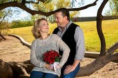 Couples d'anniversaire regardant fixement l'un l'autre Images libres de droits