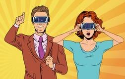 Couples d'art de bruit utilisant des verres de réalité virtuelle illustration libre de droits
