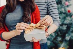 Couples d'Asiatique de Noël Un homme bel donnant son amie/wif Image libre de droits