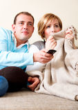 Couples d'expression de TV Images stock