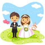 Couples d'invitation de mariage de bande dessinée Images stock