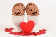 Couples d'oeufs d'arts et de visage Images stock