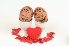 Couples d'oeufs d'arts et de visage Images libres de droits