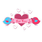 Couples d'oiseau tenant la carte de voeux de forme de coeur Valentine Day Photographie stock