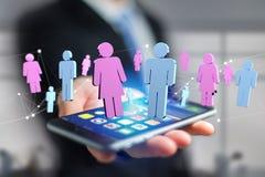 Couples d'un homme et d'une réunion de femme sur l'Internet - renderi 3D Photo stock