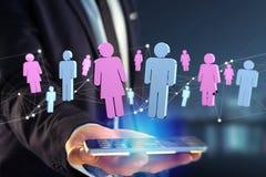 Couples d'un homme et d'une réunion de femme sur l'Internet - renderi 3D Photographie stock libre de droits