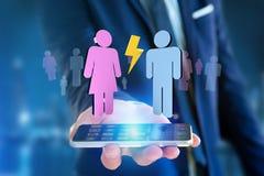 Couples d'un homme et d'une réunion de femme sur l'Internet - renderi 3D Photos libres de droits