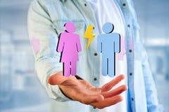 Couples d'un homme et d'une réunion de femme sur l'Internet - renderi 3D Photos stock