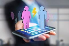 Couples d'un homme et d'une réunion de femme sur l'Internet - renderi 3D Images libres de droits