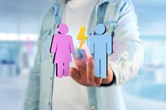 Couples d'un homme et d'une réunion de femme sur l'Internet - renderi 3D Image libre de droits