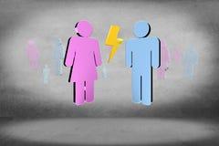 Couples d'un homme et d'une réunion de femme sur l'Internet - renderi 3D Image stock