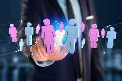 Couples d'un homme et d'une réunion de femme sur l'Internet - renderi 3D Images stock