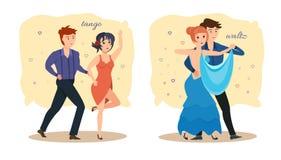 Couples dance modern types of dances: passionate tango, sensual waltz. Stock Photos