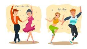 Couples dance modern types of dances: rhythmic cha-cha-cha and hip-hop. Royalty Free Stock Photos