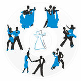Couples dancing on the plate. Couples dancing on the background of a circular plate Stock Image