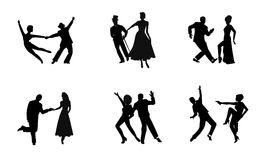 Couples dancing in silhouette Stock Photography