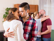 Couples dancing in slow dance Stock Images