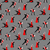 Couples dancing tango latin american romantic boy and girl couples seamless pattern.  Royalty Free Stock Photography