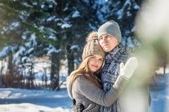 Couples dans des étreintes d'amour dans la forêt d'hiver Image libre de droits