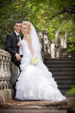 Couples dans des jeunes mariés d'amour ensemble dans le jour d'été nuptiale Image libre de droits
