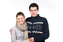 Couples dans des vêtements d'hiver Photographie stock