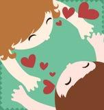Couples dans l'étreinte et le baiser d'amour illustration de vecteur
