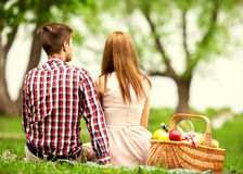 Couples dans l'amour à un pique-nique en parc, Saint-Valentin Images stock