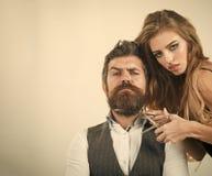 Couples dans l'amour au coiffeur Photo libre de droits