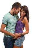 Couples dans l'amour au-dessus du fond blanc Images stock