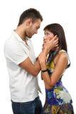 Couples dans l'amour au-dessus du fond blanc Photo stock