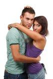 Couples dans l'amour au-dessus du fond blanc Image stock