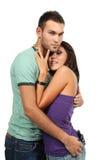 Couples dans l'amour au-dessus du fond blanc Photo libre de droits