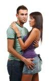 Couples dans l'amour au-dessus du fond blanc Photos libres de droits