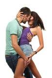 Couples dans l'amour au-dessus du fond blanc Photos stock