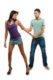 Couples dans l'amour au-dessus du fond blanc Image libre de droits