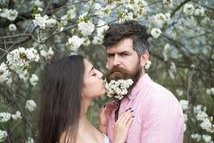 Couples dans l'amour au jardin de floraison Femme tendre avec de longs cheveux foncés et homme bel avec les fleurs blanches minus Images libres de droits