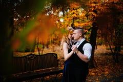 Couples dans l'amour Automne, extérieur Photo stock
