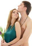 Couples dans l'amour avec des fleurs Images stock