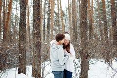 Couples dans l'amour ayant l'amusement en hiver Photographie stock libre de droits