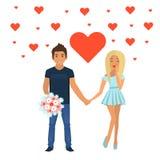 Couples dans l'amour Caractères pour le festin du saint Valentine D'isolement sur le fond blanc Illustration de vecteur illustration libre de droits
