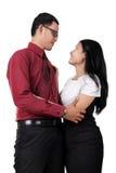 Couples dans l'amour, d'isolement sur le blanc Photo stock