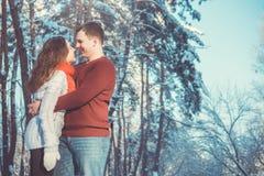 Couples dans l'amour dans la forêt d'hiver Images libres de droits