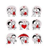 Couples dans l'amour embrassant, croquis de valentine pour votre conception Image stock